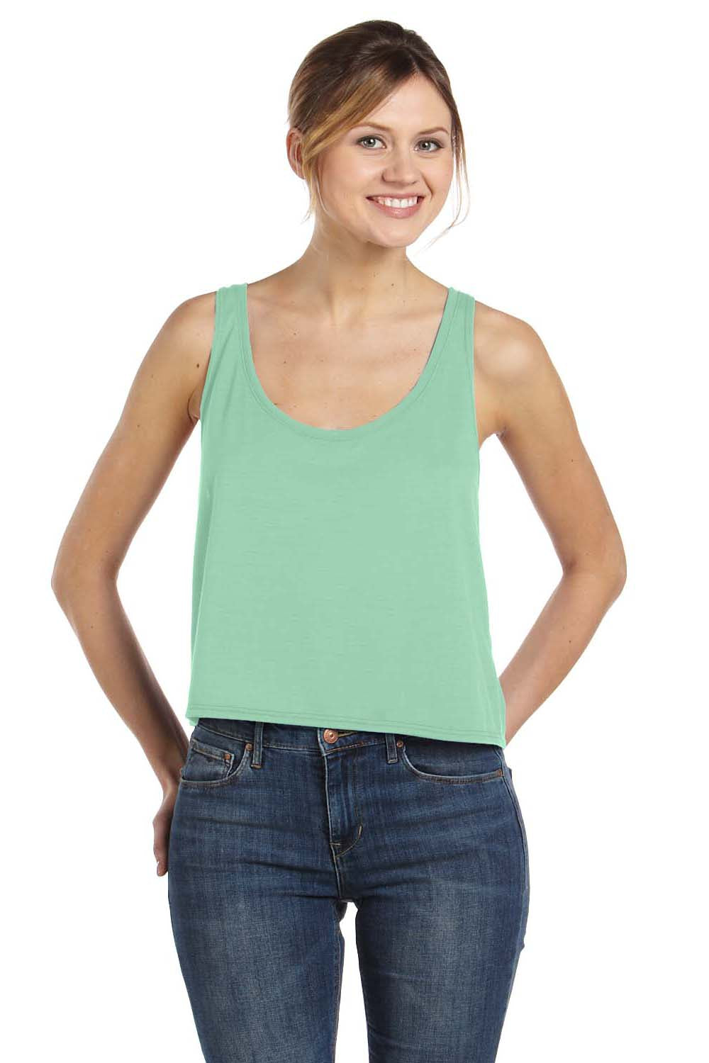 Bella + Canvas 8880 Womens Flowy Boxy Tank Top Mint Green Front