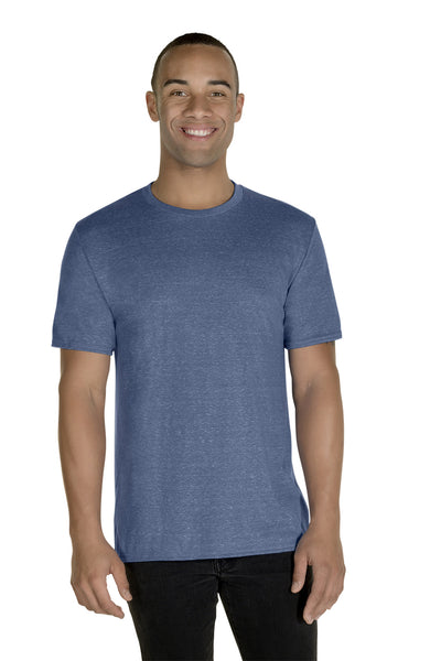 Jerzees 88MR Mens Vintage Snow Short Sleeve Crewneck T-Shirt Heather Denim Blue Front