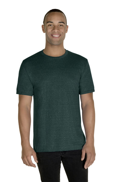 Jerzees 88MR Mens Vintage Snow Short Sleeve Crewneck T-Shirt Heather Forest Green Front