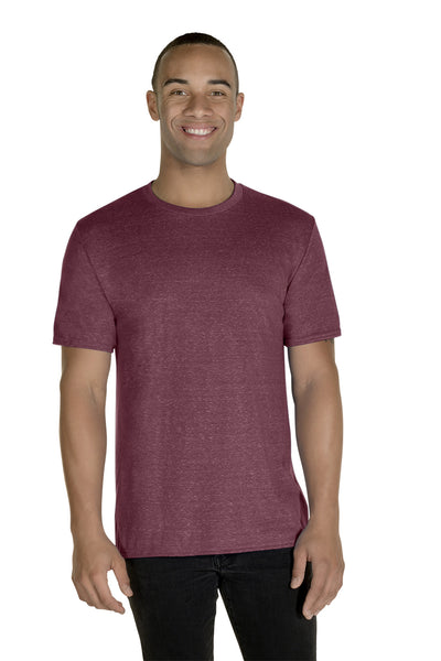 Jerzees 88MR Mens Vintage Snow Short Sleeve Crewneck T-Shirt Heather Maroon Front