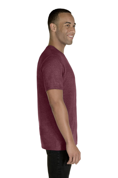 Jerzees 88MR Mens Vintage Snow Short Sleeve Crewneck T-Shirt Heather Maroon Side