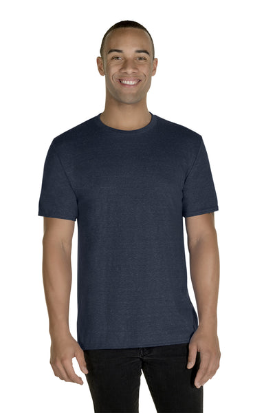 Jerzees 88MR Mens Vintage Snow Short Sleeve Crewneck T-Shirt Heather Navy Blue Front