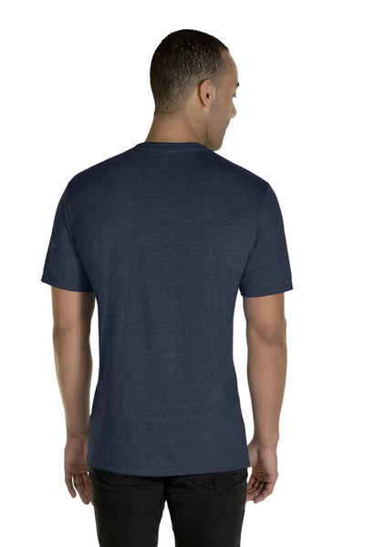 Jerzees 88MR Mens Vintage Snow Short Sleeve Crewneck T-Shirt Heather Navy Blue Back