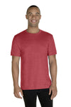Jerzees 88MR Mens Vintage Snow Short Sleeve Crewneck T-Shirt Heather Red Front