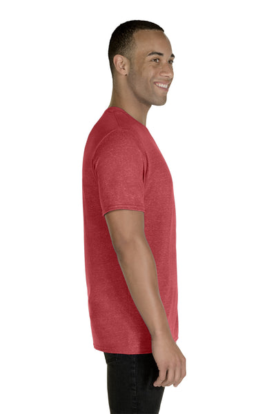 Jerzees 88MR Mens Vintage Snow Short Sleeve Crewneck T-Shirt Heather Red Side
