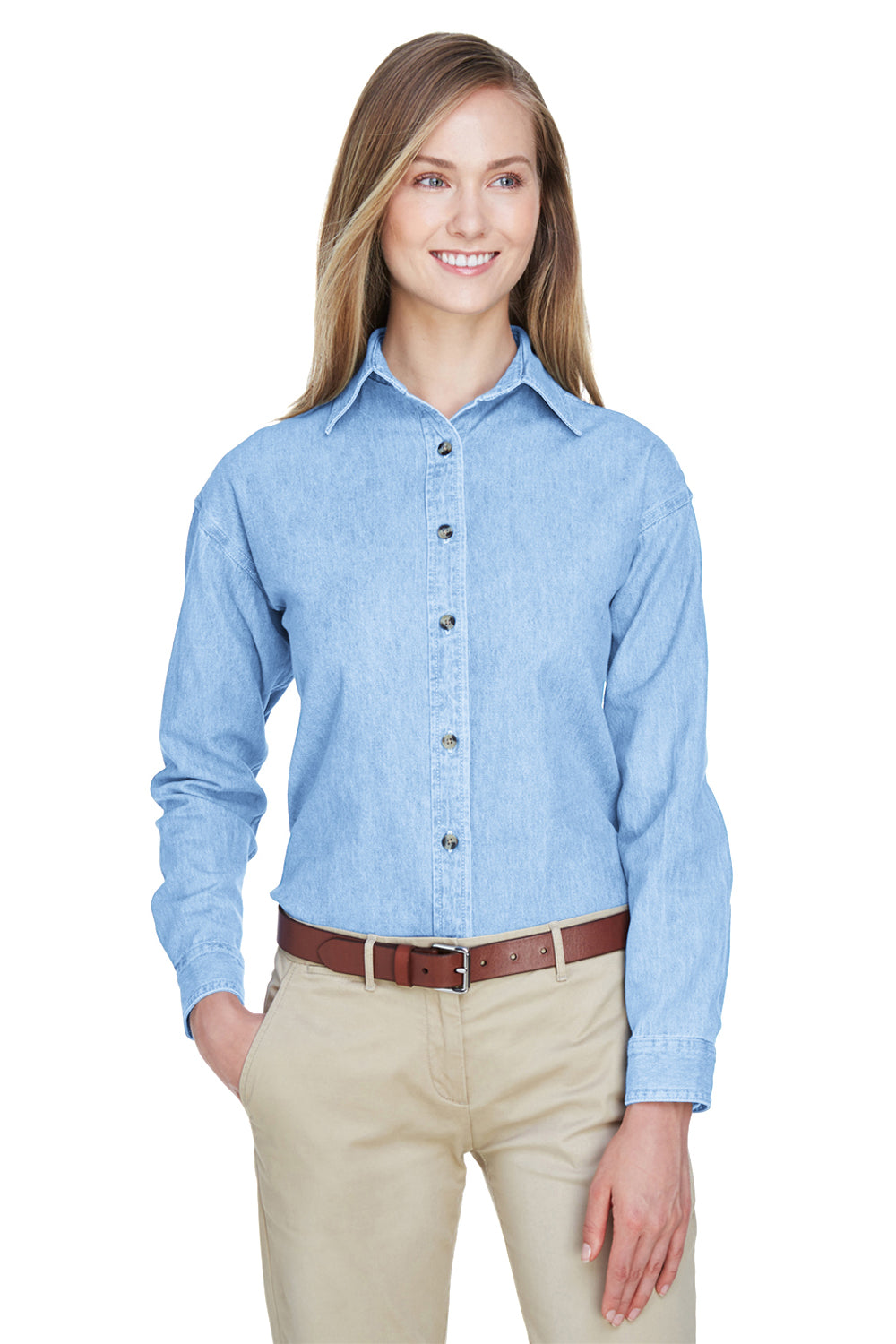 UltraClub 8966 Womens Cypress Denim Long Sleeve Button Down Shirt Light Blue Front