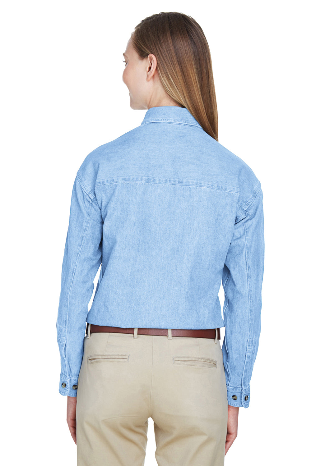 UltraClub 8966 Womens Cypress Denim Long Sleeve Button Down Shirt Light Blue Back