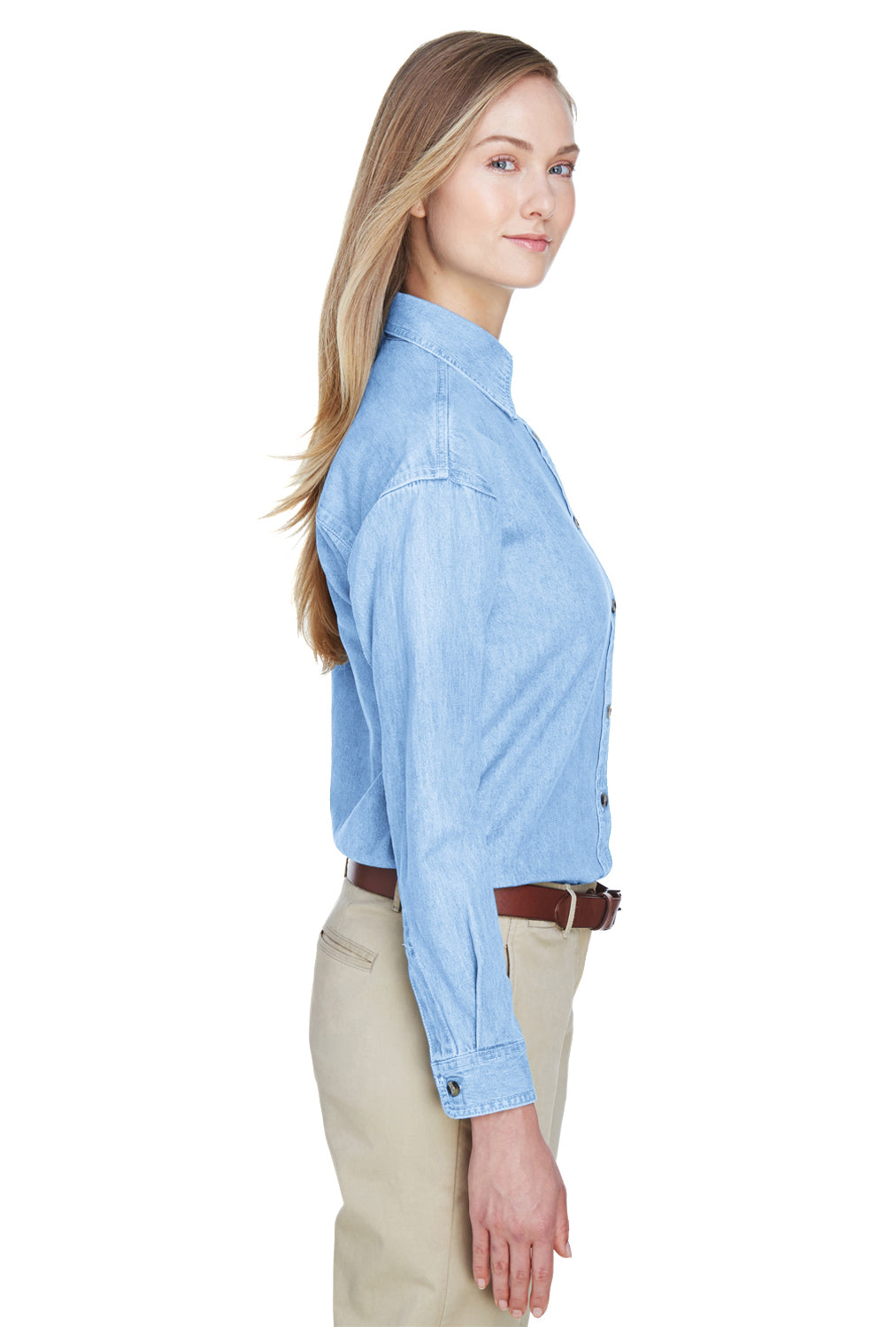 UltraClub 8966 Womens Cypress Denim Long Sleeve Button Down Shirt Light Blue Side