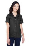 UltraClub 8981 Womens Cabana Breeze Short Sleeve Button Down Camp Shirt w/ Pocket Black Front