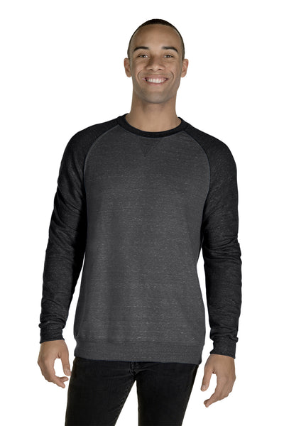 Jerzees 91MR Mens Vintage Snow French Terry Crewneck Sweatshirt Heather Charcoal Grey/Black Front