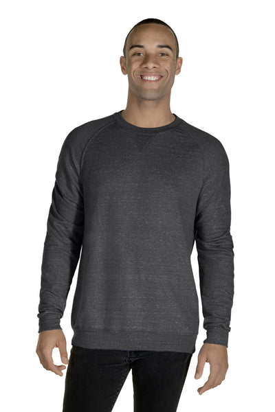Jerzees 91MR Mens Vintage Snow French Terry Crewneck Sweatshirt Heather Charcoal Grey Front