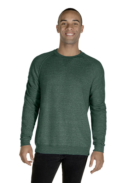 Jerzees 91MR Mens Vintage Snow French Terry Crewneck Sweatshirt Heather Forest Green Front