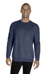 Jerzees 91MR Mens Vintage Snow French Terry Crewneck Sweatshirt Heather Navy Blue Front