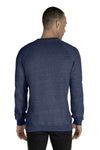 Jerzees 91MR Mens Vintage Snow French Terry Crewneck Sweatshirt Heather Navy Blue Back