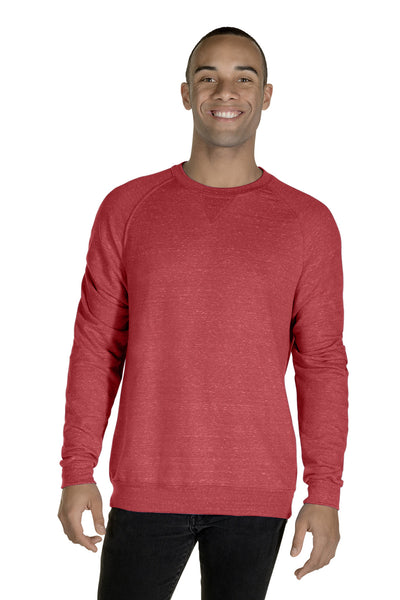 Jerzees 91MR Mens Vintage Snow French Terry Crewneck Sweatshirt Heather Red Front