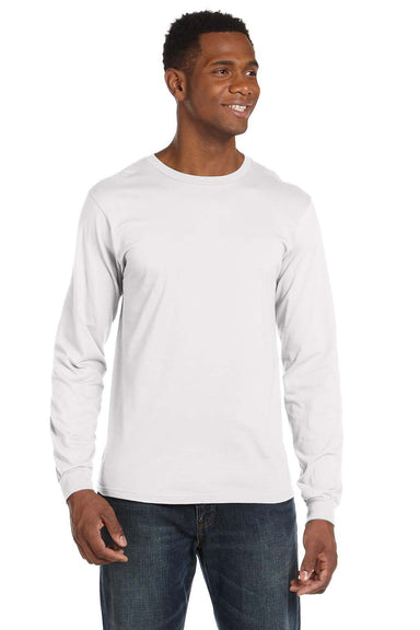 Anvil 949 Mens Long Sleeve Crewneck T-Shirt White Front