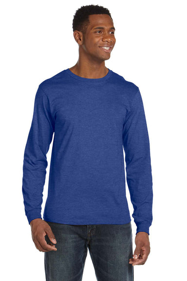 Anvil 949 Mens Long Sleeve Crewneck T-Shirt Heather Blue Front