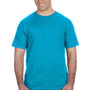 Anvil Mens Caribbean Blue Short Sleeve Crewneck T-Shirt