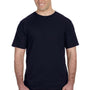 Anvil Mens Navy Blue Short Sleeve Crewneck T-Shirt