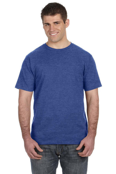 Anvil 980 Mens Short Sleeve Crewneck T-Shirt Heather Blue Front