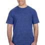 Anvil Mens Heather Blue Short Sleeve Crewneck T-Shirt