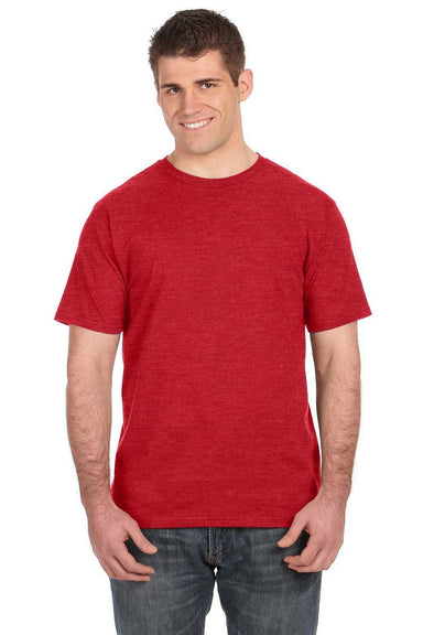 Anvil 980 Mens Short Sleeve Crewneck T-Shirt Heather Red Front