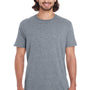 Anvil Mens Heather Graphite Grey Short Sleeve Crewneck T-Shirt