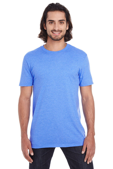 Anvil 980 Mens Short Sleeve Crewneck T-Shirt Heather Royal Blue Front