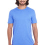 Anvil Mens Heather Royal Blue Short Sleeve Crewneck T-Shirt