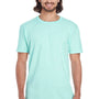 Anvil Mens Teal Ice Blue Short Sleeve Crewneck T-Shirt