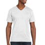 Anvil Mens White Short Sleeve V-Neck T-Shirt