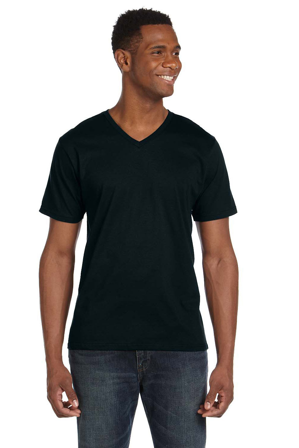 Anvil 982 Mens Short Sleeve V-Neck T-Shirt Black Front