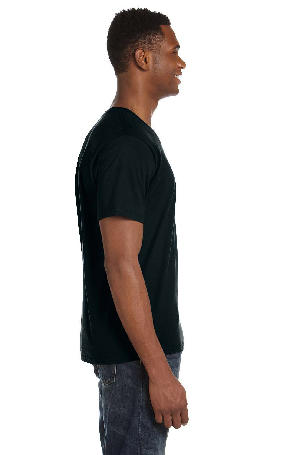 Anvil 982 Mens Short Sleeve V-Neck T-Shirt Black Side
