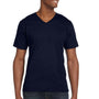 Anvil Mens Navy Blue Short Sleeve V-Neck T-Shirt