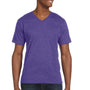 Anvil Mens Heather Purple Short Sleeve V-Neck T-Shirt