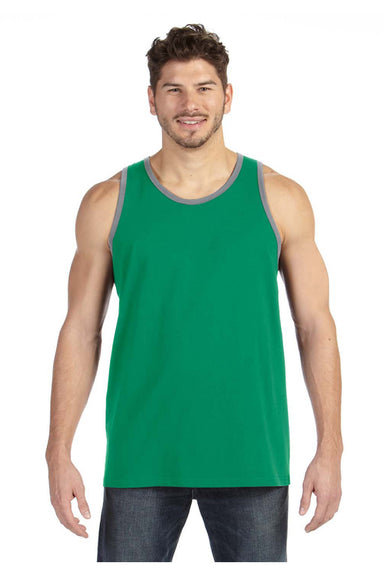 Anvil 986 Mens Tank Top Heather Green/Grey Front