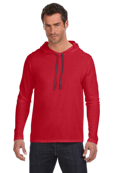 Anvil 987AN Mens Long Sleeve Hooded T-Shirt Hoodie Red/Dark Grey Front