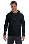 Anvil 987AN Mens Long Sleeve Hooded T-Shirt Hoodie Black/Dark Grey Front