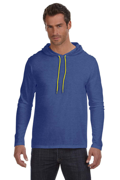Anvil 987AN Mens Long Sleeve Hooded T-Shirt Hoodie Heather Blue/Neon Yellow Front