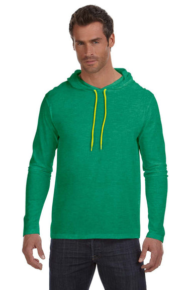 Anvil 987AN Mens Long Sleeve Hooded T-Shirt Hoodie Heather Green/Neon Yellow Front