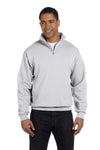 Jerzees 995M Mens NuBlend Fleece 1/4 Zip Sweatshirt Ash Grey Front