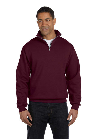 Jerzees 995M Mens NuBlend Fleece 1/4 Zip Sweatshirt Maroon Front