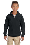 Jerzees 995Y Youth NuBlend Fleece 1/4 Zip Sweatshirt Black Front