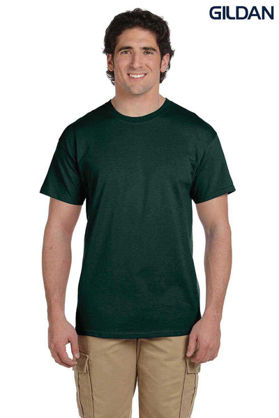 Gildan G200 Mens Cotton Short Sleeve Crewneck T-Shirt Forest Green Front