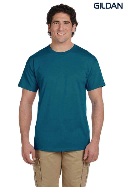 Gildan G200 Mens Cotton Short Sleeve Crewneck T-Shirt Galapagos Blue Front