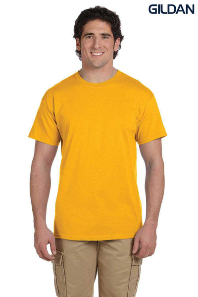 Gildan G200 Mens Cotton Short Sleeve Crewneck T-Shirt Gold Front