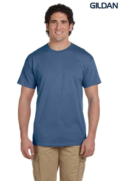 Gildan G200 Mens Cotton Short Sleeve Crewneck T-Shirt Heather Indigo Blue Front