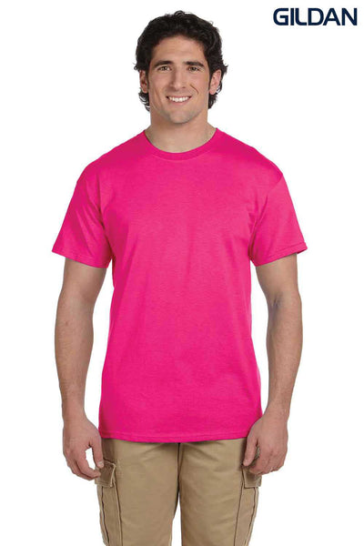 Gildan G200 Mens Cotton Short Sleeve Crewneck T-Shirt Heliconia Pink Front