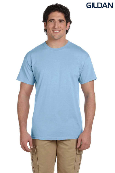 Gildan G200 Mens Cotton Short Sleeve Crewneck T-Shirt Light Blue Front