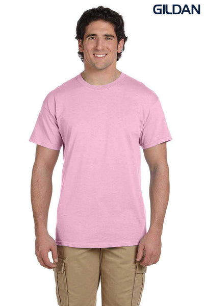 Gildan G200 Mens Cotton Short Sleeve Crewneck T-Shirt Light Pink Front